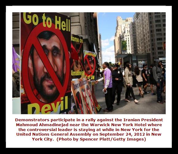 Protestors against Ahmadinejad visit to New York