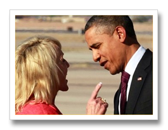 Arizona Gov. Jan Brewer giving Obama a piece of her mind